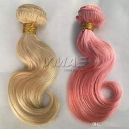 Discount human hair weave packs - Body Wave Pink 613 blonde Color Brazilian Human Hair Weft 3pieces pack 100g piece 100% Virgin Human Hair Weaves