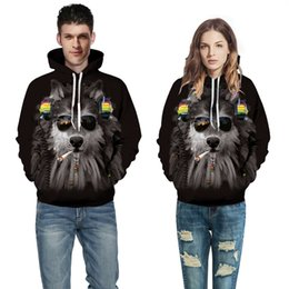 Women's Clothing Beautiful New Ice Fire Double Wolf Head 3d Digital Printing Hat Couples Vest