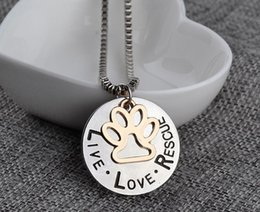 $enCountryForm.capitalKeyWord Australia - Fashion Sunshine Live Love Rescue Pet Adoption Pendant Necklace Hand Stamped Personalized Animal Shelter Pet Rescue Paw Print Cat Dog Lover
