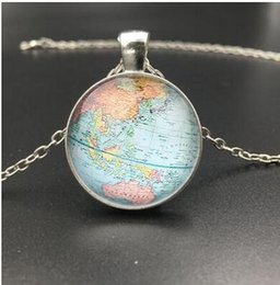 World globe necklace australia new featured world globe necklace 2018 vintage globe pendant necklace simple planet earth world map necklace print photo blue star punk sweater chain map jewelry gumiabroncs Image collections