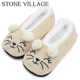 wholesale gifts homes NZ - Winter Wool Cute Cartoon Indoor Shoes Woman Home Slippers Women Soft Plush Slippers Christmas Gift Women Slipper Shoes One Size