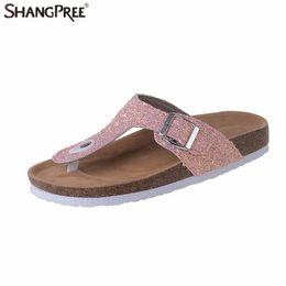 8e644eeaf Sequin Beach Slippers UK - 2018 New Summer women Beach Cork Slippers Casual Sandals  Sequins Slides