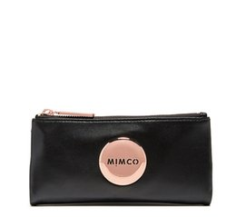 Chinese  MIMCO Fashion Women Polished Black Fold Sheep Leather Wallet in Black Rose Gold Hardware MIM Wallet manufacturers