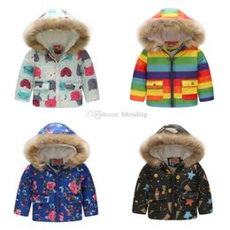 01ff76eae20f7 Baby Boy girls Thickening Floral Outwear dinosaur car Flower Print Down  Coat Kids Winter Clothes Boutique Hooded Jacket 14 colors C5407