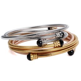 21a6bd35c7b Gold Rose Gold Sier Stainless Steel Tripe Three Cable Wire Twisted Cuff  Bangle Bracelelt For Women Adjustable Bangle Bracelet