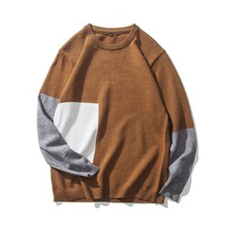 China 2017 Autumn And Winter New Fashion Trends Youth Style Solid Casual Color Combination Crew Neck Plus Fat XL Sweater Male supplier winter combinations suppliers
