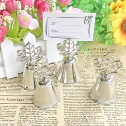 "animal place card holders wedding NZ - FREE SHIPPING(15pcs Lot)+""Lustrous Leaf"" Kissing Bell Place Card Photo Holder Summer Wedding Party Decoration Favors"