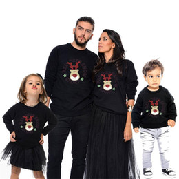 fa0e99a2 Cartoon Deer Print Tops Long Sleeve Merry Christmas Family Matching Outfits Mother  Daughter Father Son Boys Shirt Winter Autumn Pullover