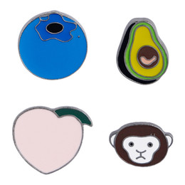 China Metal Plated Lapel Pin Soft Enamel Fruit Brooch Avocado Peach Monkey Blueberry DIY Button Pin Denim Jacket Pin Badge Jewelry suppliers