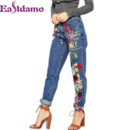 $enCountryForm.capitalKeyWord Canada - Eastdamo 2017 Blue Floral Embroidery Jeans Woman High Waist Women's Denim Pants Ladies Slim Casual Trousers Femme Plus Size