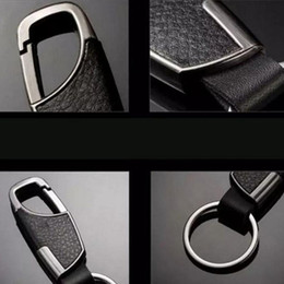 Color Leather Bags Australia - Leather Men Car Keychain key ring Bag Pendant Metal Alloy Buckle Silver Color
