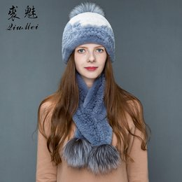38ea5668e01c8f Girl Fashion Winter Hat & Scarf Set For Women Girls Warm Beanies Scarf  Pompoms Real Fur Hats Knitted Caps And 2 Pieces Set