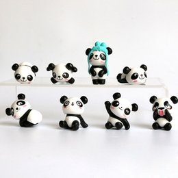 Discount kawaii dolls - Kawaii Panda Action Figures Mini PVC Model Toy Moss Landscape Animals Dolls Kids Birthday Gifts ZA6725