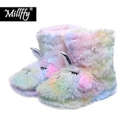 Chinese  Millffy Winter ladies cotton comfort warm home cartoon unicorn boots indoor floor shoes parent-child kids bootie shoes manufacturers