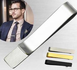 $enCountryForm.capitalKeyWord Australia - Tie Clip Stainless Steel Tie Bar Silver Black Golden For Men Gift Popular Jewelry Slim Glassy Necktie Business Suits Accessories Wholesale