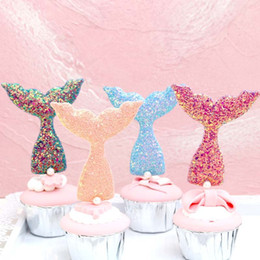 Cake plug online shopping - Creative Cute Mermaid Tail Cake decoration Plug in Shiny sequins mermaid tail with pearl birthday cake tools Party Dessert decors