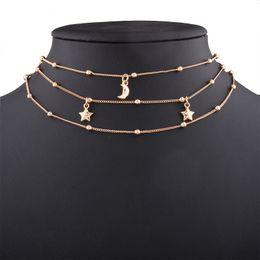 $enCountryForm.capitalKeyWord Australia - whole saleKorean Moon Star Choker Necklace Copper Chain Multi Layer Clavicle Statement Fashion Women Jewelry Collar Round Necklaces
