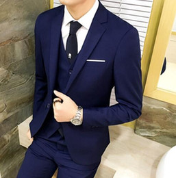grey suit men fashion Canada - New Fashion Grey Men Suits For Wedding 3Pieces(Jacket+Pant+Vest+Tie) Latest Design Terno Masculino Groom Custom Made Blazer