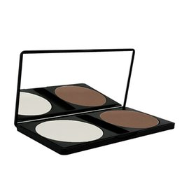 Discount two faced palette Bronzer & Highlighters Pressed Powder Palette Pancake Make-up Owder Repair Capacity Two Color Cream Powder Face Cosmetic