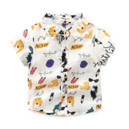 Sweet Boy Cartoon NZ - FOWECH Toddler Boys Shirts Summer Baby Suits Collar Cartoon Printed Kids Shirt for Infant Boy Cotton Sweet Baby Shirts For Boys