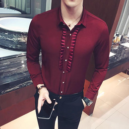 $enCountryForm.capitalKeyWord Canada - Wholesale - Pleated Mens Dress Shirt Party Wedding Social Shirts Pattern Men Fitted Male Shirt Black Wine Red White Metrosexula Dinner