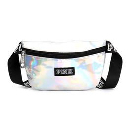 China Pink Laser Transparent Pink Fanny Pack Letter Waist Belt Bag Beach Waterproof Handbags Purses Outdoor Bag cheap belt purses suppliers
