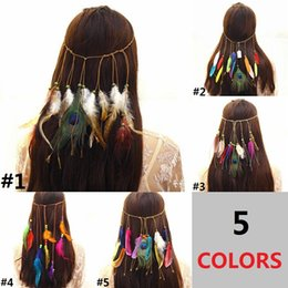 hippie bands NZ - New Bohemian Style Peacock Feather Hair Band Women's Fashion Hippie Folk Style Headdress Hair Headband Accessories D0336
