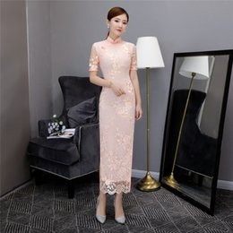 $enCountryForm.capitalKeyWord Australia - Shanghai Story 2018 New Sale Short Sleeve Vintage Floral Qipao Long Lace Cheongsam Dress Women's Chinese Traditional Dress
