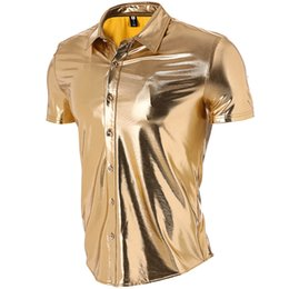 98c977c8e8f 2018 Caual Men T-shirt Shiny Gold Coated Metallic T Shirt Men Night Club T  Shirts Slim Hip Hop Top Tee Shirt Homme 2XL