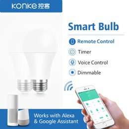Dimmable Energy Saving Bulbs Australia - Konke Smart Timing Energy Saving Dimmable LED Light Bulbs Remote Control EU Standard Works with Alexa and Google Assistant