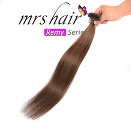 Brazilian Prebonded Hair Australia - MRSHAIR Silky Straight 50g Prebonded Keratin Nail Tip U tip Fusion Brazilian Remy Human Hair Extensions 50 strands Light Brown #6
