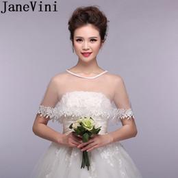 Discount lace cape crochet - JaneVini Elegant White Ivory Red Bridal Shawls Wraps Wedding Cape Dress Womens Bride Lace Shrug Bolero Tulle Cheap Brida