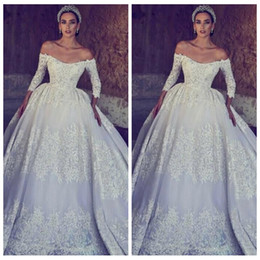 Beautiful Princess Simple Gown NZ - 2019 Quarter Sleeves Lace Appliques Wedding Dress Princess Beautiful Bridal Gowns Half Sleeves Vestidos De Mariage Custom Garden Vintage