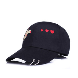 Fashion Embroidery Hand and Heart Sun-shade Snapback Hats Hip Hop Curved  Bill Baseball Cap Iron Ring Women Hats Summer 4df02e410832