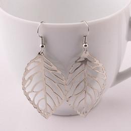 $enCountryForm.capitalKeyWord Canada - Women Earrings Large Leaves Dangle Chandelier Earrings Gold Silver Colours Stainless Steel Leaf Fashion Jewelry Earrings
