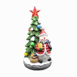 Christmas snowman ornaments online shopping - Personalised Hand Painted Resin Christmas Tree with Snowman and RGB Light Up Music Collectible Christmas Ornament