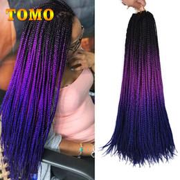 ombre black blue braiding hair 2018 - TOMO Hair 24Inch Long Ombre Crochet Braid Hair Box Braids Pure Or Ombre Brown Blue Purple 3x Synthetic Braiding Hair For