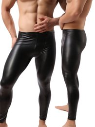 Faux leather skinny leggings online shopping - Fashion Mens Black Faux Leather Pants Long Trousers Sexy And Novelty Skinny Muscle Tights Mens Leggings Slim Fit Tight Men Pant M XL