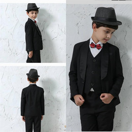 boys suits wedding gold 2019 - New Arrival Black Boy Formal Wear Two Botton Custom MadeTie Pants Vests Wedding Evening Party Tuexdos Suits cheap boys s