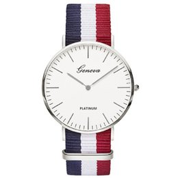 mens watches chronograph UK - Geneva Nylon Strap Watches for Mens Women Casual Students Watch Sports Quartz Wrist watches Fashion Dress Watches For Men Women 100pcs