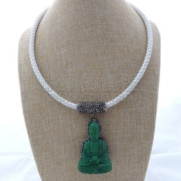 "necklaces pendants Australia - N112407 20"" Green Buddha Pendant White Leather Necklace"