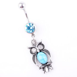 Owl belly buttOn online shopping - D0696 color Owl Item Aqua color Navel Belly Button Ring piercing body jewlery belly ring Body Jewelry