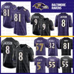 74a699602 Stitched 8 Lamar Jackson Jersey Baltimore Ravens 9 Justin Tucker 32 Eric  Weddle 55 Terrell Suggs 57 C.J. Mosley 5 Joe Flacco Perriman Hurst