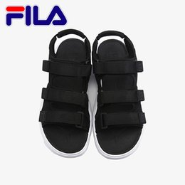 China Fashion Fila Sandals 2 For Mens Womens 2018 Cheap Beach Slippers Black White Red Anti-slipping Outdoor Light Soft Water Sandal Size 36-44 cheap size womens sandals suppliers