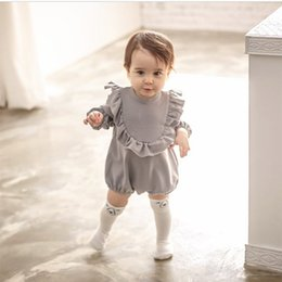aaee5dc5016f Cute Baby Girl Romper Loose Cotton Gray Long Sleeve Ruffles Jumpsuit Baby  Clothes Newborn Rompers Baby Onesies Costume Infant Kids Clothing