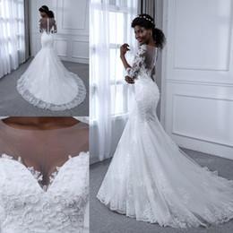 Discount transparent wedding dresses sequin - Sheer Neck Transparent Back Wedding Dresses Beadings Lace Appliques Mermaid Half Sleeve Sweep Train Bridal Gowns Custom