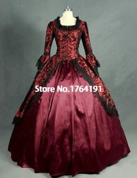 Historical dress online shopping - Renaissance Historical Costumes Long Sleeve Red Gothic Victorian Masquerade Dress