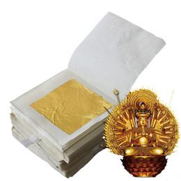 100 Pcs 24K Pure Genuine Edible Gold Leaf Foil Sheet Decor Foil Golden Cover on Sale