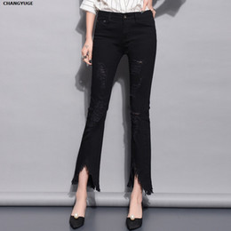 97214517f37 Flare Jeans Women s High Waist Boot Cut Jeans Fashion Denim Pants Elastic  Trouser Black White Sexy Slim High Waist