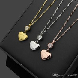Rose Pendant Jewellery Australia - New Stainless Steel love Pendant Heart Necklace women silver Gold rose gold crystal Chains Choker Necklaces For Women Wedding Jewellery